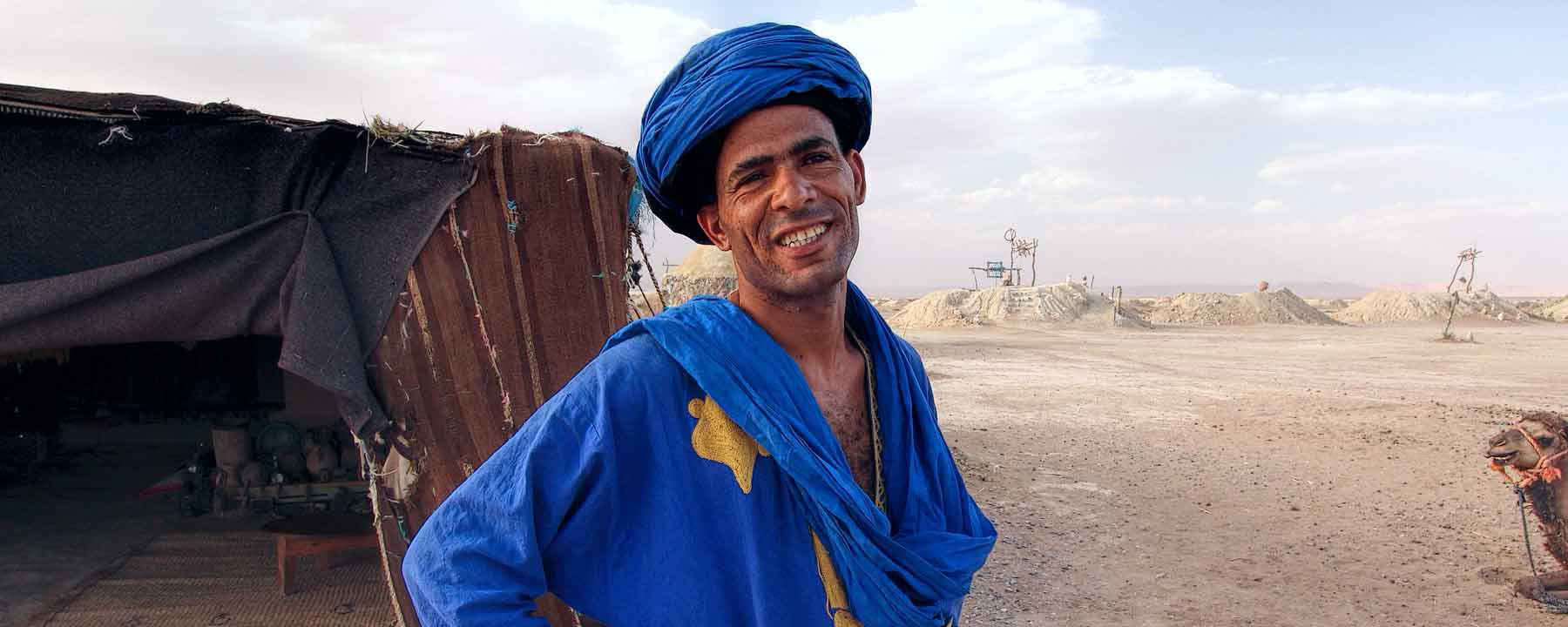 Morocco Sahara Wells Blue Man