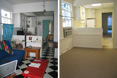 Left: before renovations, this apartment has ancient checked linoleum, old appliances, missing doors, and funky paint; Right: after renovations