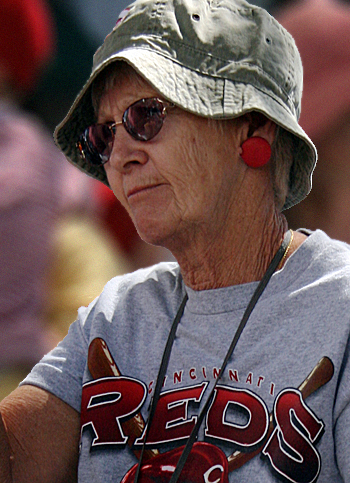 And woman in Cincinnati Reds T-shirt