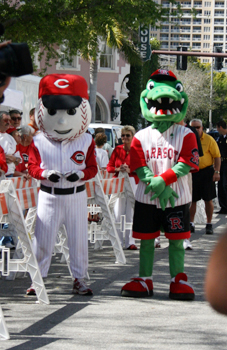 Team Mascots 'Rally Gater' and 'Mr. Red' - how hysterical is that?