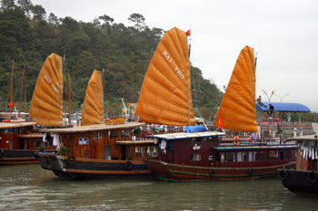 Chinese Junks ply the waters of Halong Bay