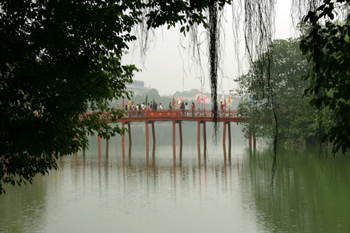 Bridge leading to the island temple in the center of Hoan Kiem Lake