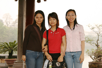 Three new friends, who wished to practice their English with me