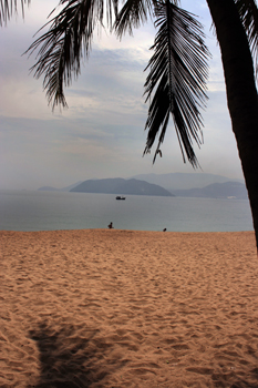 The pinkish sands of the Nha Trang beaches
