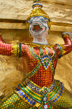 A mythical creature at the Phra Siratana Chedi keeps away evil spirits