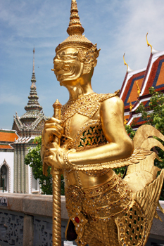 Another mythical guardian stands senty duty on the grounds of the Grand Palace