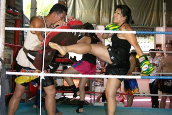 Muay Thai boxing ring down a side alley in the Khao San backpacker district
