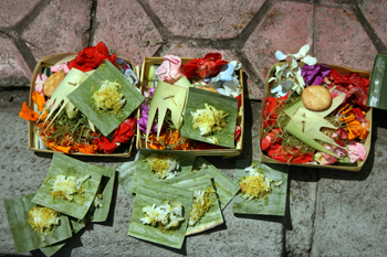 Spirit offerings on sidewalks bali