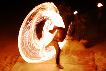 Each night, young boys twirl fire batons on the beach on Phi Phi Don Island