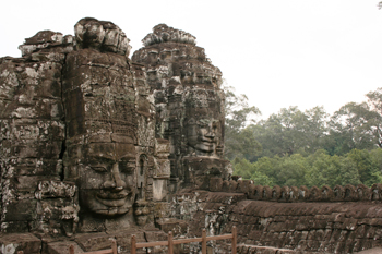 Another view of the carved heads at Bayon temple in Angkor Wat