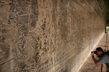 Carved stone mural at Angkor Wat depicts the ancient Hindu legend of the Mahabharata