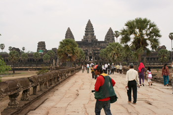 Long walkway leading to Angkor Wat temple in Cambodia