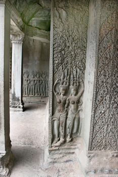 Angkor Wat ruins are covered with beautiful carvings