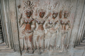 Lovely carvings at Angkor Wat, Cambodia