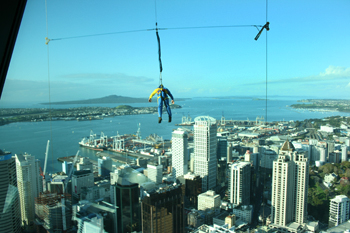 Bungee jumping from the top of the Space Tower in Auckland New Zealand