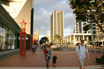 Strolling along the waterfront Auckland New Zealand