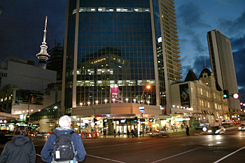 Downtown Auckland at night New Zealand