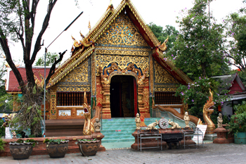 At Wat Chai Mongkol in Chiang Mai Thailand you can catch a boat for a two hour cruise on the Mae Ping River