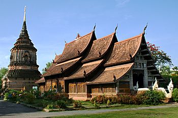 Wat Lokmolee, constructed of bricks made from the local red clay in Chiang Mai Thailand