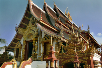 Wat Montien in Chiang Mai Thailand exhibits characteristics of a traditional Chinese Buddhist Temple