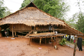 Traditional dwelling at a Akha (Kaw) hill village