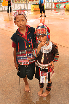 Akha (Kaw) children in the village of Mae Sai northern thailand