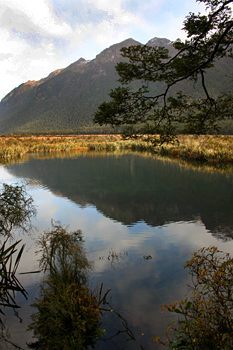 Mirror Lakes on the way to the west coast from Queenstown New Zealand