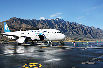 The Remarkable Mountains lurk just beyond the airport in Queenstown New Zealand