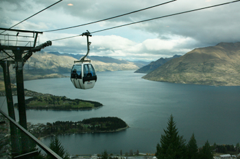 Riding the gondola, high over Queenstown New Zealand