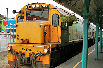 TranzAlpine Express rolls into the station in Greymouth New Zealand