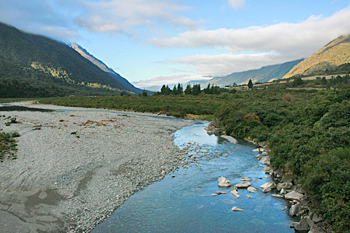 Alpine scenery along the route of the TranzAlpine Railway New Zealand