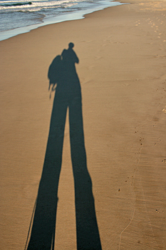 Long shadows on a beach in Byron Bay Australia