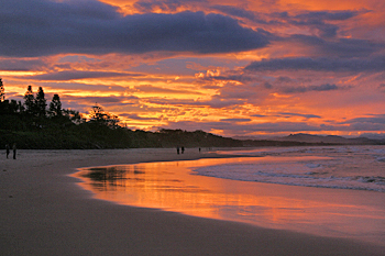 Byron Bay Beach at sunset Australia