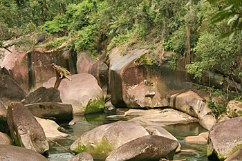 Can you see the wman's face in the rocks at Babinda Boulders Atherton Tablelands Australia