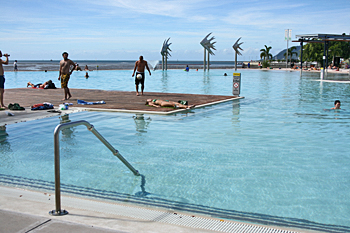 City's huge oceanfront pool replaces a sandy beach in Cairns Australia