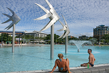 Cairns city pool on the oceanfront Australia