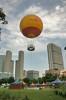 For $23 you can take a half-hour tethered flight to get a bird's eye view of Singapore