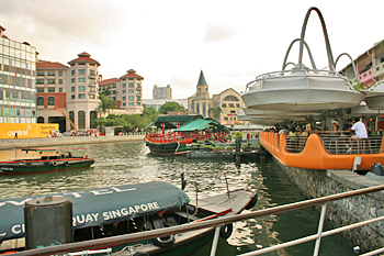 Along the shores of the Singapore River in the city's center