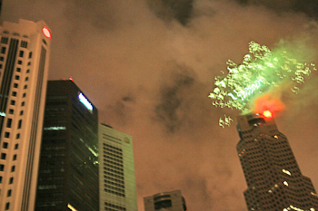 Fireworks from the top of a highrise in Singapore
