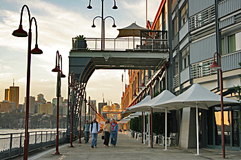 Old wharf building converted for performing arts, conventions, restaurants and retail usealong Sydney Harbour Australia