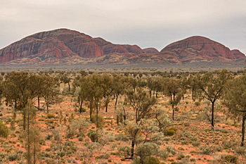 Sun sets over The Olgas (Kata Tjuta) Australia