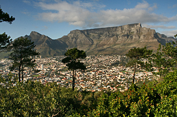 Cape Town South Africa lies beneath famous Table Mountain, here viewed from Signal Hill