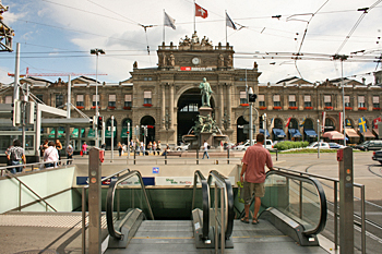 Hauptbanhoff - the main train station in downtown Zurich Switzerland