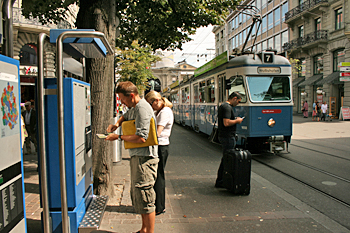 Electric trams run the length of the Banhofstrasse in Zurich Switzerland