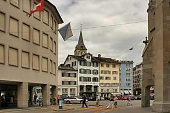 Streets of Zurich Switzerland are lined with multicolored pastel buildings