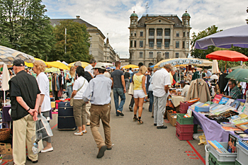 Flea market at the end of Banhofstrasse in Zurich Switzerland