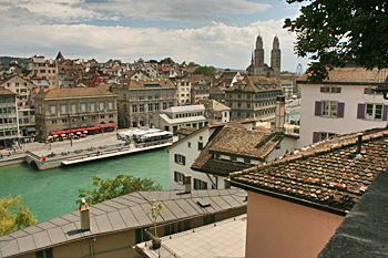 Looking down upon the Zurich River from Lindenhof Plaza in Zurich Switzerland