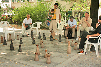 Giant chess board in Lindenhof Plaza in Zurich Switzerland