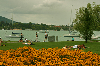 Walking along the shores of Lake Zurich Switzerland