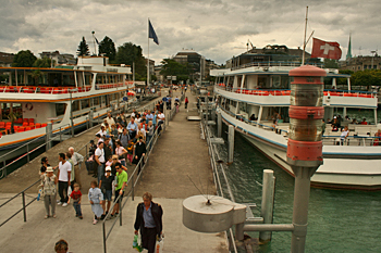 Ferries carry passengers back and forth across Lake Zurich Switzerland